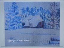 Schnee Häuschen am Waldrand