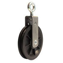 Cable Pulley Ø 90 mm for ropes up to Ø 7 mm with ball bearing and steel wall mount incl. eyebolt