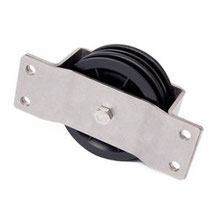 Double Cable Pulley Ø 90 mm for ropes up to Ø 7 mm with plain bearing with stainless stell wall mount