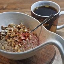 Kerstins Keto, Keto Frühstück mit selbstgemachten Mandelmus, eingekocht mit Kokosmilch und Zimt