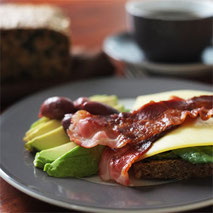 Kerstins Keto, Ketofrühstück, Bacon mit Avocado