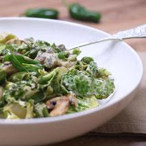 Kerstins Keto, grünes Gemüse mit Champignons