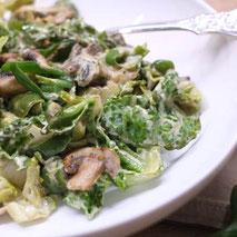 Kerstins Keto, gebratene Champignons mit grünem Gemüse