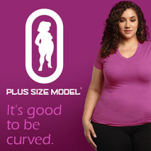 atraktives junges sexy Plus Size Model mit Plus Size Logo und dem Text it s gut to be curvy