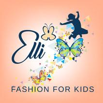 Elli fashion for kids Logo mit springendem glücklichem Kind und vielen bunten Schmetterlingen
