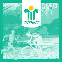 Das Trishirt Triathlon Motiv mit Radfahrer Laufer und Schwimmer