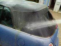 Zonder reinigen/impregneren wordt een cabriodak snel groen