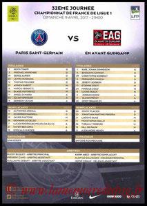 Feuille de match  PSG-Guingamp  2016-17
