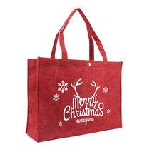 Weihnachtstüte aus Filz in bordeaux rot mit Weihnachtswunsch Merry Christmas Frohe Weihnachten