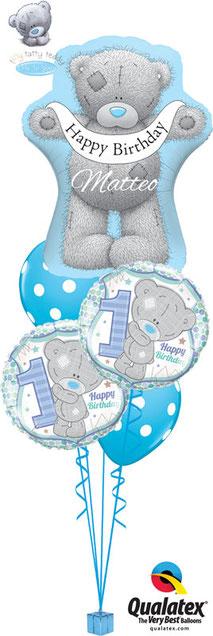 Ballon Luftballon Folienballon Heliumballon Helium Versand Happy Birthday Geburtstag Alles Gute Kindergeburtstag ein Jahr 1 mit Namen personalisiert Personalisierung Geschenk Überraschung Mitbringsel Bouquet Mädchen Junge Bär Dekoration Tiny Tatty Teddy