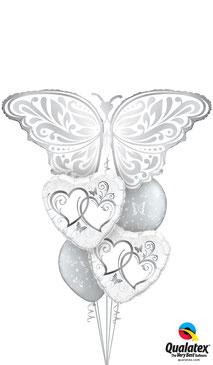 Ballon Luftballon Heliumballon Schmetterling Ballonbouquet Bouquet Ballonstrauß Strauß Just Married Hochzeit Polterabend Deko Dekoration Geschenk Mitbringsel Überraschung Brautpaar Herzen Tauben