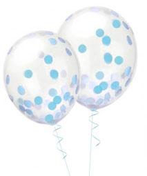 Konfetti Ballon Confetti Luftballon Heliumballon mit Geburtstag Geburt Baby Taufe Kindergeburtstag Party rosa pink blau weiß silber gold metallic dots Punkte Papierkonfetti Papier