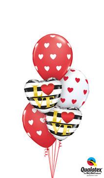 Ballon Luftballon Heliumballon Ballonbouquet Bouquet Ballonstrauß Strauß Just Married Hochzeit Polterabend Deko Dekoration Geschenk Mitbringsel Überraschung Brautpaar Herzen LOVE