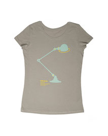 Women's T-shirt with Silkscreen Print of Jielde Standard Lamp designed by Jean-Louis Domecq