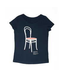 Women's T-shirt with Silkscreen Print of Thonet Chair 14 designed by Gebruder Thonet