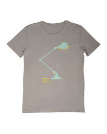 Men's T-shirt with Silkscreen Print of Jielde Standard Lamp designed by Jean-Louis Domecq