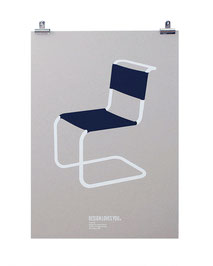 Silkscreen Print of Thonet Chair S33 designed by Mart Stam