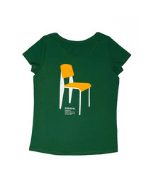 Women's T-shirt with Silkscreen Print of Vitra Chair Standard No. 4 designed by Jean Prouve