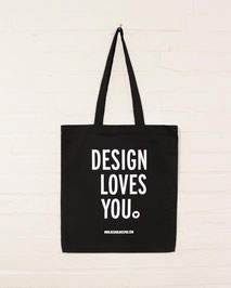Black Cotton Tote Bag with Silkscreen Print of Design Loves You