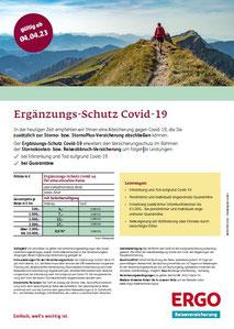 Preise, Leistungen der Ergänzungs-Reiseversicherung Covid-19 mit Quarantäne