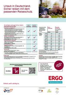 Muster eines ERGO Reiseversicherung Reiseschutz-PDF-Flyers für die Storno-Versicherung für Urlaub in Deutschland