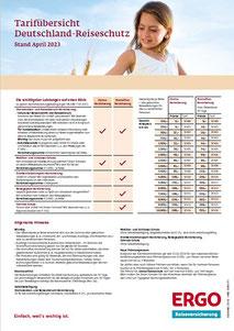 Tarifübersicht für die Storno- und StornoPlus-Versicherung für Reisen in Deutschland