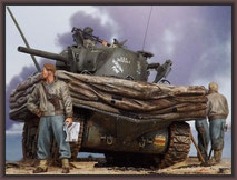Sherman M4A1 (Large Hatch) DD , Diorama 1/35