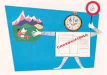 Ein Dauerauftrag löst bequem im Urlaub Ihr Terminproblem (Plakat (Aufsteller) im Schaufenster der Sparkasse 1960).