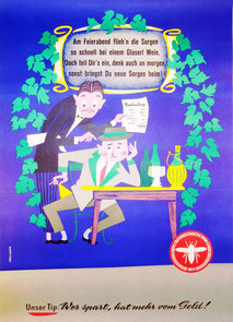 Plakat der Ersten österreichischen Spar-Casse (83x60). Wer spart, hat mehr vom Geld! Plakat-Entwurf Heinz Traimer.