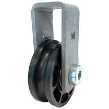 Seilrolle Ø 50 mm für Seile bis Ø 8 mm mit doppeltem Kugellager und Haltebügel