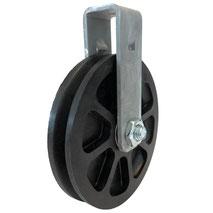 Seilrolle Ø 100 mm für Seile bis Ø 3 mm mit verschraubtem Haltebügel