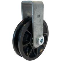 Seilrolle Ø 75 mm für Seile bis Ø 8 mm mit doppeltem Kugellager und Haltebügel