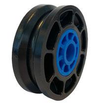 Seilrolle Ø 50 mm für Seile bis Ø 4 mm aus Kunststoff mit Gleitlagereinsätzen