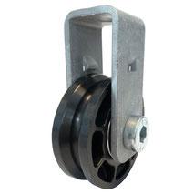 Seilrolle Ø 50 mm für Seile bis Ø 4 mm mit doppeltem Kugellager und Haltebügel