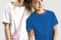 T-shirt con profili tricolore  per bambini con stampa personalizzabile