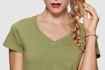 Maglietta t-shirt collo a v per donna con stampa personalizzabile