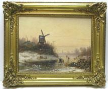Adolf Kirstein, 1864, Schlittschuhläufer in Winterlandschaft, Windmühle , € 2900,00