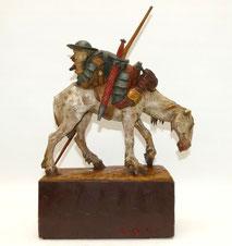Alte Skulptur Don Quijotte u. Rosinante, handgeschnitzt, farbig gefasst, 45 cm, € 680,00