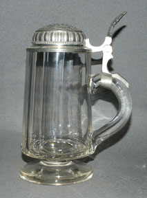 Bierhumpen, Bierkrug mit Fuss, Zinndeckel, 1/2 Liter, Feuerwehr Eiting anno 1890 , € 99,00