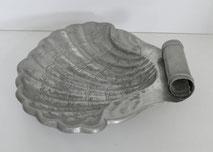 Große Zinn Schale in Muschelform, Obstschale, Shellmuschel, 33,5 x 31 cm , € 165,00