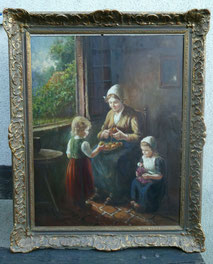 Ölgemälde, Mutter mit Kindern, P. A. Hendriks, Genrebild, Maße 90,0 cm x 71,0 cm, € 950,00