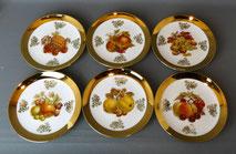 6er Satz Obstteller, Goldrand, 24 Karat, Porzellanmalerei Leni Parbus Bavaria , € 85,00