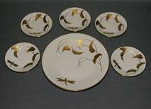Petit four Geschirr, Porzellan, Zeh Scherzer, Libelle, Blätter, Golddekoration, , € 89,00