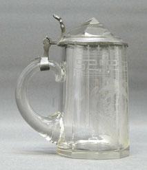 Seltener Bierkrug, aufwendig, geschliffen, Kaleidoskop im Deckel, 0,3 ltr., € 125,00