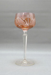 Kristallglas,Römer,orangfarbender Überfang,Blütenschliff,gekerbter Stiel,19,5 cm , € 45,00