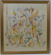 """Bernard Schultze, Farbradierung, """"Migofs"""", ohne Titel, informelle Malerei, 60x60, € 350,00"""