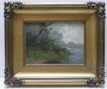 Eugen Frank-Colon, München 1909,Düsseldorfer Schule,Fasane am See,Öl auf Holz , € 420,00