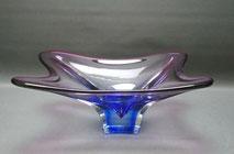 50er Jahre Glasschale, gezogenes Glas, violett, blau, böhmisch, 32,0 x 23,0 cm , € 65,00