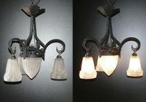 Jugendstil Deckenlampe,Art Deco, Schmiedeeisen, Ilex, wrought Iron,€ 590,00