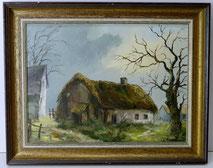 Josef Thoma, Eifel, Monschau, Öl auf Leinwand,1974, Bauernhaus, Winterstimmung , € 260,00